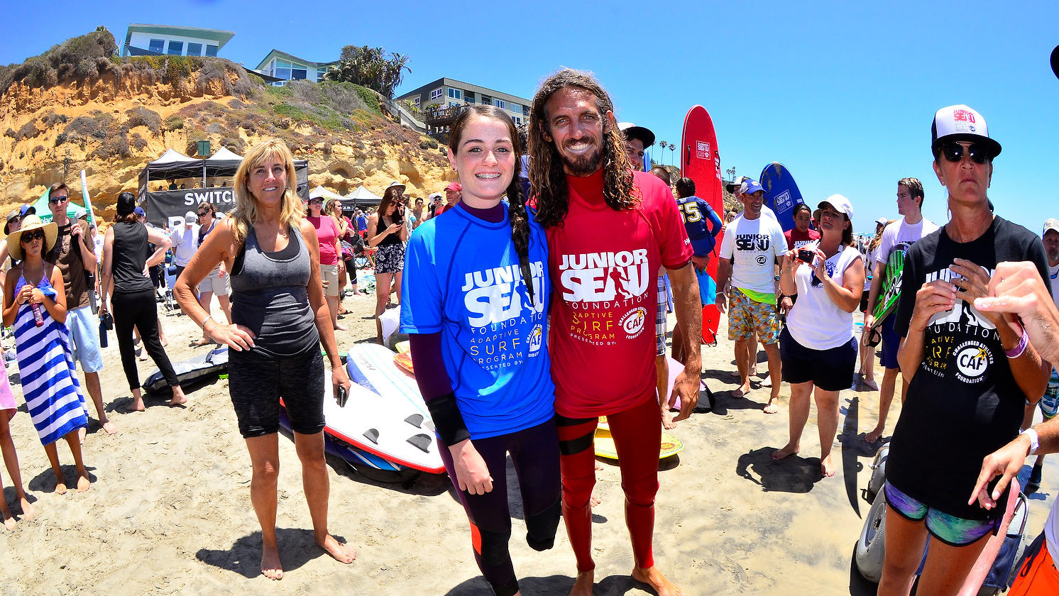 CAF Junior Seau Foundation Adaptive Surf Program at SwitchFoot BroAm at Moonlight Beach- Encinitas, CA.   July 9, 2016               ©2016 Rich Cruse  CrusePhoto.com