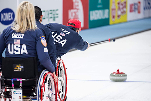 Kirk black wheelchair curling