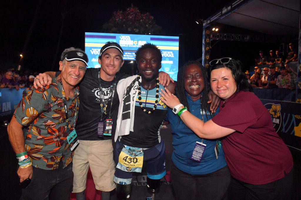 Roderick Sewell finishing IRONMAN KONA, first bilateral above the knee amputee to do so