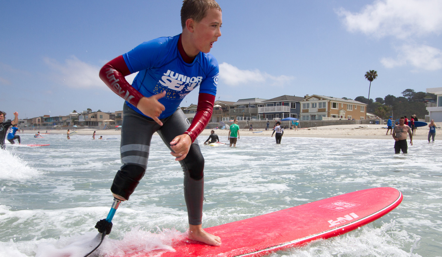 William surfing 2018 CAF Adaptive Surf Camp