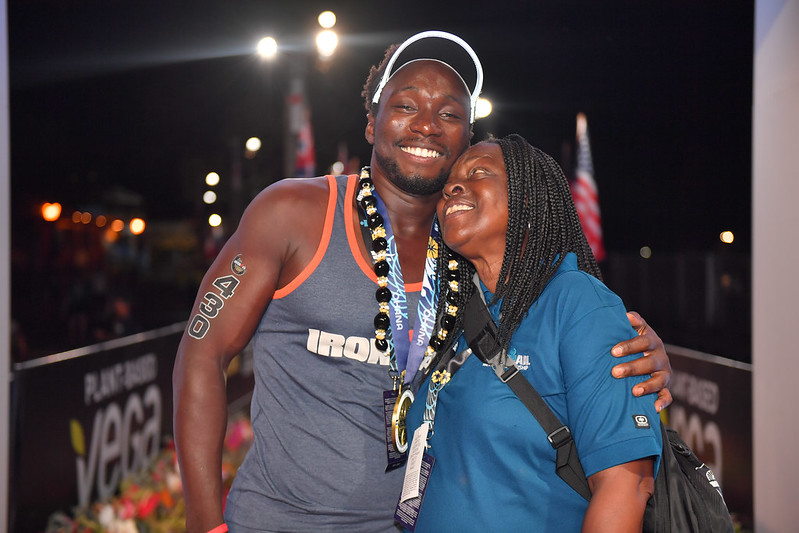 Rudy Sewell at the Kona Ironman Finish Line with Mom