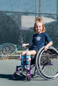 Brooklyn Gossard playing wheelchair tennis